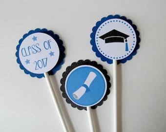 Graduation Cupcake Toppers - Class of 2017 - Graduation Party - Class of 2017 Decor - Congrats Grad - Graduation Party Decor