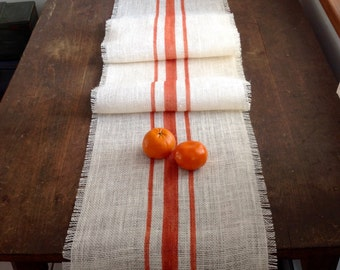 Rustic Orange Striped Burlap Table Runner 10-14x84 Home Decor by sweetjanesplan