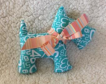 Stuffed Scottie dog – plush – aqua and white numbers with peach striped ribbon