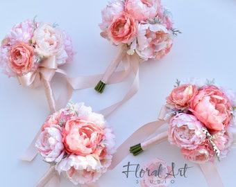 Wedding bouquet, Peony bouquet, Silk peony bouquet, Bridesmaid bouquet, Blush peony bouquet, Peony and ranunculus bouquet - SEASIDE ROMANCE.