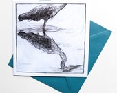 Heron - Square Art Card - Detailed Pencil Drawing of a Reflection