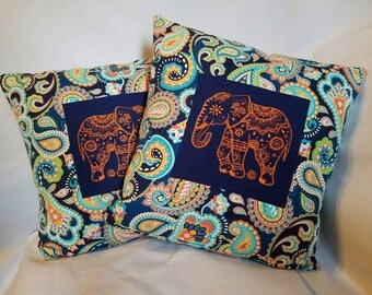Embroidered Mandala Elephant Throw Pillow Cover