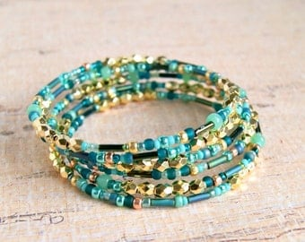 gold beaded bracelet, memory wire bracelet, beach jewelry, teal gold, gift for her