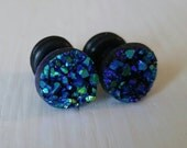 Midnight Crystal Plugs for Gauged Ears, sizes 00g, 0g, 2g, 4g, 6g, regular earrings, 8mm, 6mm, 5mm, 4mm, One (1) Pair