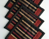 Handmade Quilted Coasters, Mug Rugs Set (4)  Very Modern Style Black with Bold Stripes