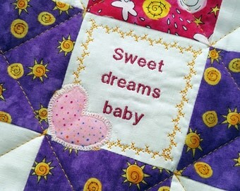 Patchwork Barbie or Doll Quilt, Handmade Patchwork Sun, Moon and Stars on Pink and Purple Cotton Fabric