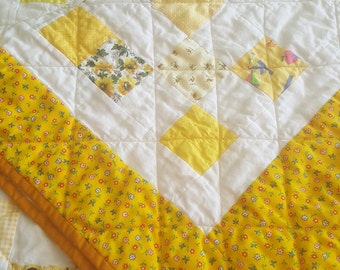Quilted Throw Yellow Patchwork Twin size Topper, Country Primitive Lap Quilt or Ladder, Wall Hanging