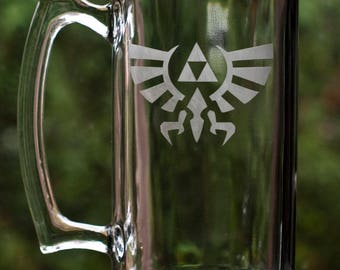 Legend of Zelda - Triforce Etched Glass Mug 27oz