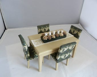 Contemporary dolls house miniature dining set.