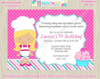 Little Chef Cupcake decorating party invitation cupcake birthday party chef baking party baking birthday invitation invite printable