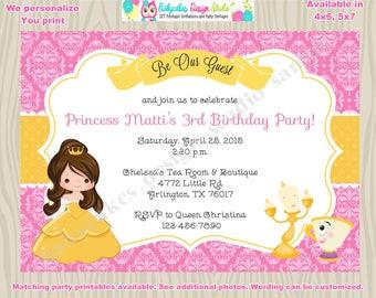 Belle Invitation belle birthday princess belle birthday beauty and the beast  digital printable DIY