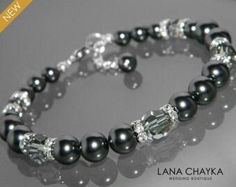 Black Pearl Bracelet Swarovski Black Pearl Silver Bracelet One Row Pearl Bracelet Wedding Black Bracelet Bridal Bridesmaids Pearl Jewelry