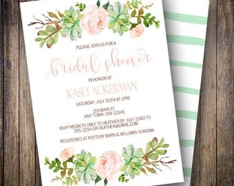 Boho Bridal Shower Invite, Succulent Bridal Shower Invitation, Watercolor Floral Bridal Shower Card in Blush, Teal, Green