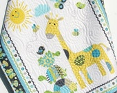 Baby Quilt, Baby Blanket, Nursery Crib Bedding, Bundle of Love, Giraffe Turtles, Grey Gray Yellow Blue Green, Modern Adorable Twin Bedding