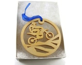 Motocross Dirtbike Motorcycle Christmas Ornament Handmade From Birch Wood By KevsKrafts