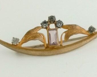 "Victorian Art Nouveau Gold Tone Rhinestone Brooch ""C"" Clasp"