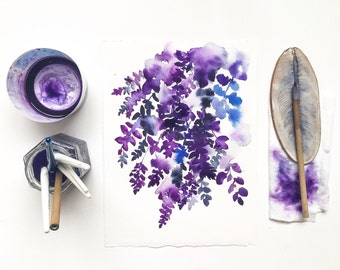 Floral Print Watercolor. Purple Wisteria. Wall Art for gardeners. Floral Art under 20. Botanical Art. Wisteria Flower Decor. Japanese Art.