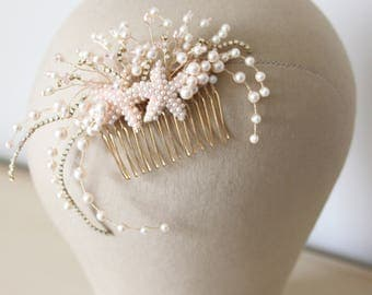 Starfish hair comb, wedding comb, rose gold and pearl comb, wedding hairpiece, bridal hairpiece, bridal hair comb - 'Ariel'