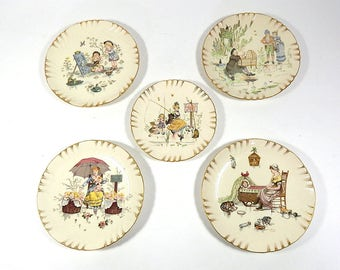 5 French Nursery Themed Vintage Richard Froment Hand Decorated Plates c. 1910 from Sarreguemines
