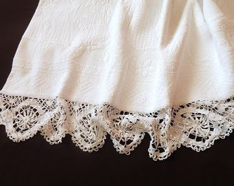 French Vintage Pique Coverlet with Fine Hand Made Lace