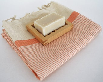 SALE 70 OFF/ Turkish Beach Bath Towel Peshtemal / Marine Style / Natural Orange Striped / Bath, Beach, Spa, Swim, Pool Towels