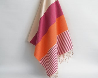 SALE 50 OFF/ BathStyle / Pink-Orange / Turkish Beach Bath Towel / Wedding Gift, Spa, Swim, Pool Towels and Pareo