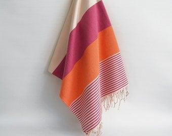 sale 50 off bathstyle pinkorange turkish beach bath towel wedding - Turkish Towels