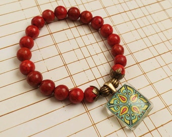 Stretch Tile Charm Bracelet, Red Coral Gemstones, Spanish, Mexican, Catalina and Mediterranean Tile Inspired with Silver Accents