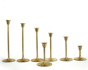 Vintage Brass Candle Holder Set Seven Tulip Candleholder Candlesticks Trumpet Graduated Heights Wedding Decor