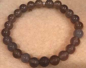 Grey Agate 8mm Stretch Bead Bracelet with Sterling Silver Accent