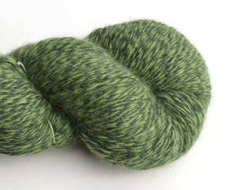Worsted Weight Angora Blend Recycled Yarn, Shades of Green, Lot 020517