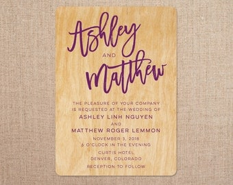 Real Wood Wedding Invitations - Brush Lettering
