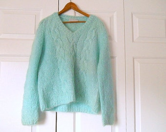 Vintage Wool and Mohair soft Blue pullover Sweater