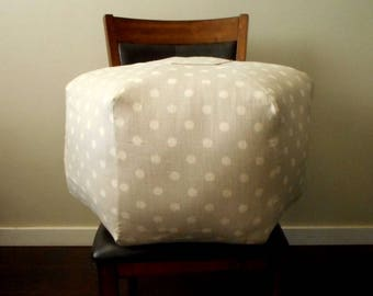 Polka Dot Pouf, Grey and Cream, ikat Fabric, Pouf Ottoman, Floor Pillow, Large Floor Pillow, Cushion, Moroccan Ottoman, Foot Stool
