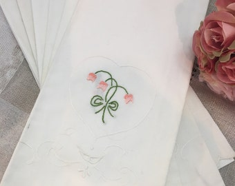 Set of Six Vintage Embroidered Linen Hand Towels Guest Towels