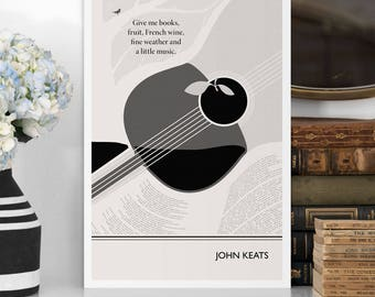 "Large Art Poster, ""John Keats - Books"" Literary Art Prints, Minimalist Illustration, Large Wall Art Quote Prints, Kitchen art, Dorm Decor"