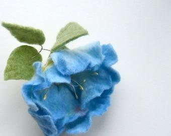Felted brooch Blue flower  Felted flower Brooch Flowers brooch Wool brooch Floral accessories