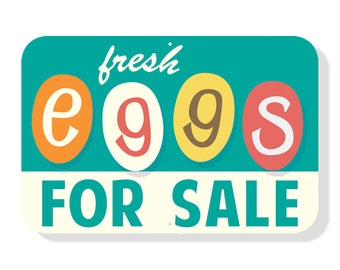 "Fresh Eggs For Sale - aluminum chicken coop sign. 18"" x 12"" RETRO COLORS"