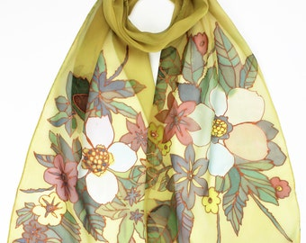 Honey Day Flowers Hand Painted Silk Scarf Natural Chiffon Silk