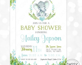 Elephant Boy Baby Shower Invitation Baby Boy Invite Watercolor Elephant Baby Shower Invite Tropical Floral DIY Printable Invite PDF (#172)