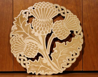 Thistle Wall Art, Warm Pot Trivet, Pattern T61, Scotland, Scottish Thistle, Laser Engraved, Paul Szewc, Masterpiece Laser
