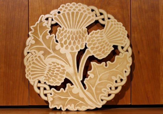 Thistle Wall Art, Warm Pot Trivet, Pattern T61, Scotland, Scottish Thistle, Laser Engraved, Paul Szewc, Masterpiece Laser