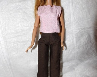 Dark brown pants & pink top for Fashion Dolls - ed949