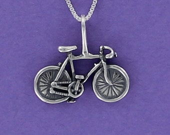 Bicycle Necklace - 925 Sterling Silver Pendant on Inspirational Card