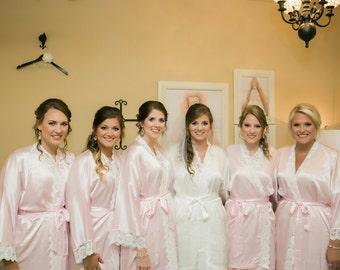 Bridesmaid robe with Lace pink Bridesmaid robes Bridesmaid robes Bridesmaid robes pastel Bridesmaid Robes coral robe junior bridesmaid robe