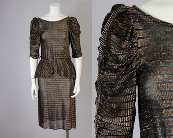70s 80s Vintage Gold & Silver Metallic Black Peplum Dress (XS)