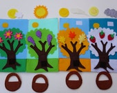 Double Page: Four Seasons- Quiet Activity Book / Busy Book / Educational Toy / Quiet Book / Soft Activity Book / Fabric Activity Book