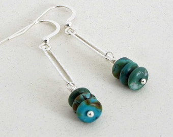 Turquoise and Sterling Silver Earrings, Turquoise Boho Earrings, Genuine Turquoise, December Birthstone, Made in the USA