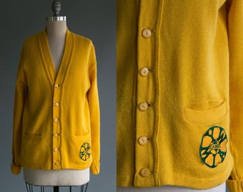 Vintage 1940's Young Women MIA Summer Camp Patch on Button Up Wool Cardigan Sweater / Preppy / Americana / Fashion Unisex Adults Size Medium