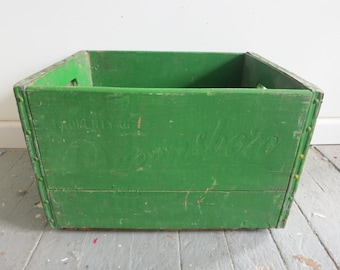 Vintage Green Wooden Milk Crate